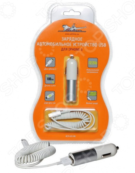 Устройство зарядное автомобильное Airline для IPhone 5 ACH-UI-06 зарядное устройство автомобильное usb для iphone 5 airline ach ui 06