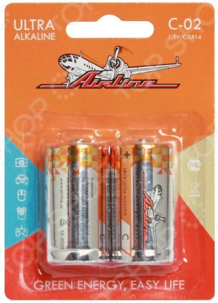 Набор батареек щелочных Airline LR14/С набор батареек щелочных airline ag12 lr43