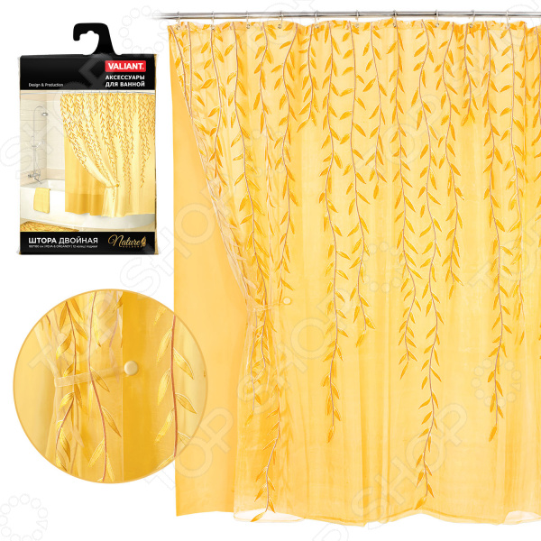 Штора для ванной двойная Valiant Nature Golden