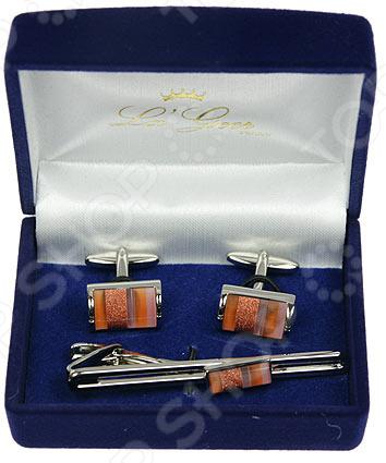 Набор подарочный: заколка для галстука и запонки La Geer 61344