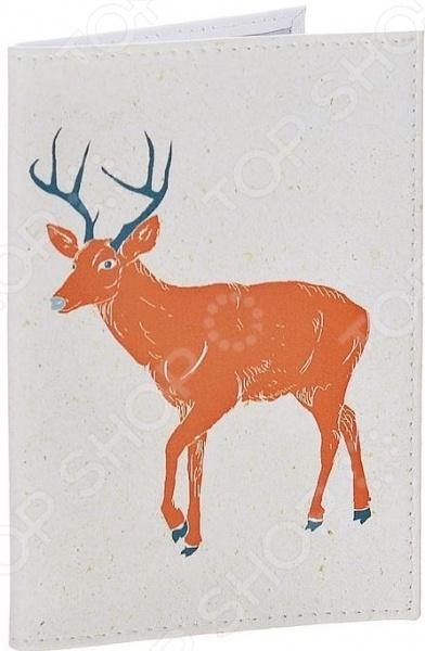 Обложка для автодокументов кожаная Mitya Veselkov «Красный олень на белом» обложка для автодокументов женская neri karra цвет красный 0032 40 50 301 05