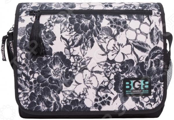 Сумка молодежная Grizzly MD-855-6 Розы самый популярный в этом сезоне аксессуар, который кроме практической ценности поможет добавить изюминку в ваш стиль. Эта модная вещь подойдет для учебы, прогулок и поездок.  Функциональные особенности  1 отделение;  клапан на липучках с карманом на молнии;  объемный передний карман на молнии;  внутренний карман для ноутбука планшета;  внутренний карман на молнии;  регулируемый плечевой ремень;  брелок-игрушка.