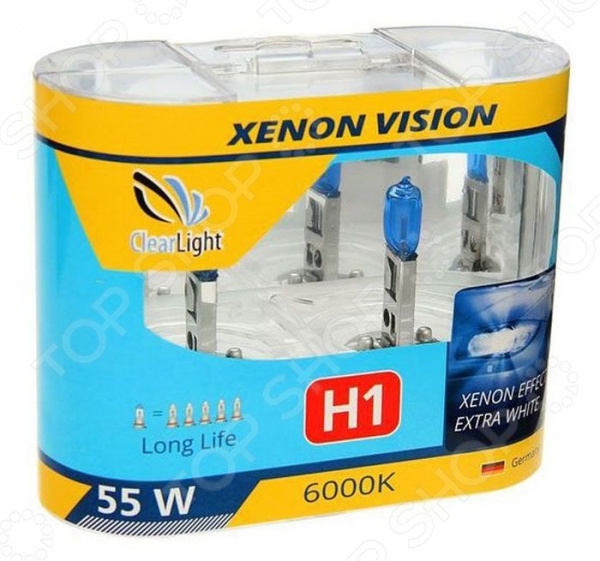 Комплект автоламп галогенных ClearLight XenonVision H1 12V-55W