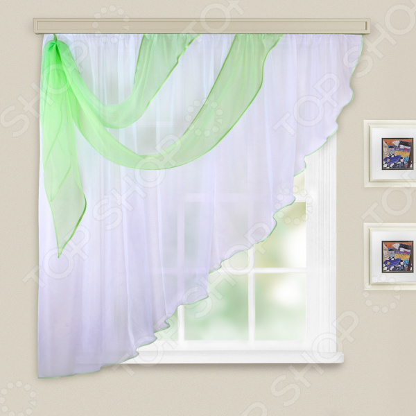 Комплект легких штор левосторонний WITERRA «Азалия». Цвет: белый