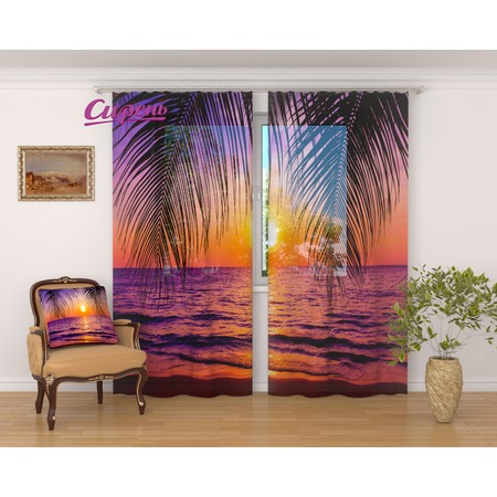 Купить Фототюль Сирень «Тропический закат»