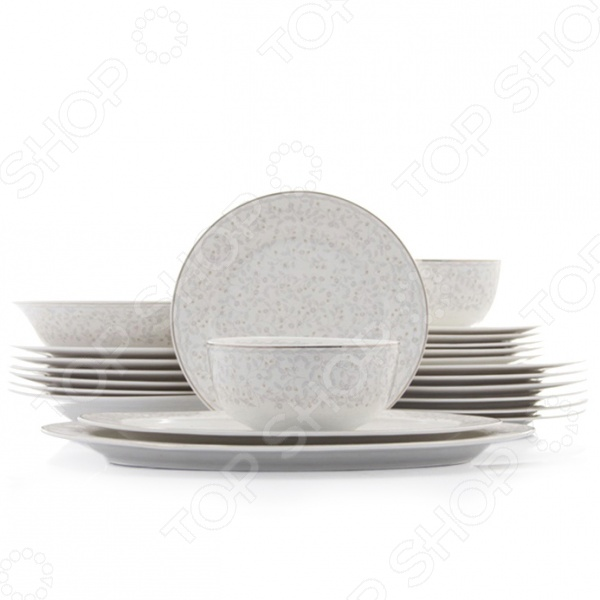 Столовый сервиз Elan Gallery Ситец - эллегантный столовый сервиз, который станет украшением любого стола, как повседневного, так и празднично сервированного. Красивая и качественная посуда выполнена из качественных и безопасных материалов. Изящная посуда подарит настроение и уют, привнесет разнообразие в приготовление ваших любимых блюд и сервировку семейного стола. Кроме того, такая посуда может стать оригинальным и полезным подарком для ваших родных и близких. В комплекте 23 предмета:  обеденная тарелка - 26,5 26,5 2 см. 6 штук;  суповая тарелка - 23 23 3,5 см. 350 мл. 6 штук;  десертная тарелка - 20 20 2 см. 6 штук;  салатник - 14 14 7 см. 600 мл. 2 штуки;  салатник 23 23 6 см. 1,2 л 1 штука;  блюдо овальное 30,5 18,5 2 см. 1 штука;  блюдо овальное 35,5 22 2 см. 1 штука.