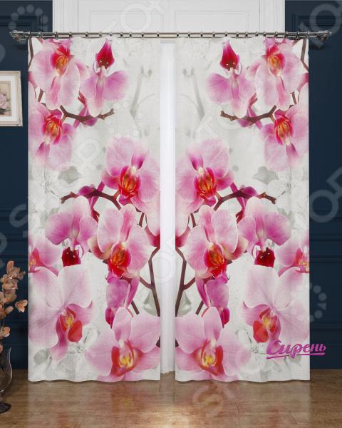 Фотошторы блэкаут Сирень «Ветви орхидеи»