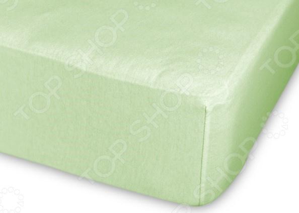 Простыня трикотажная на резинке Cleo гладкокрашеная. Цвет: салатовый