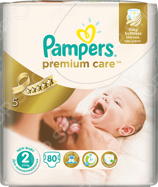 Подгузники Pampers Premium Care 3-6 кг, размер 2, 80 шт.