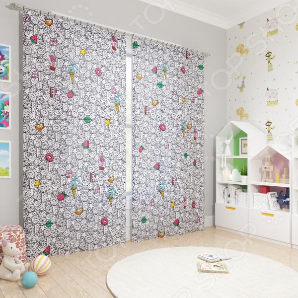 фото Фотошторы блэкаут детские Сирень «Смешарики-сладкоежки», Портьеры для детской комнаты