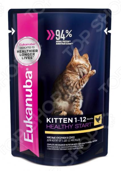 Корм влажный для котят Eukanuba Kittien Healthy Start с курицей в соусе