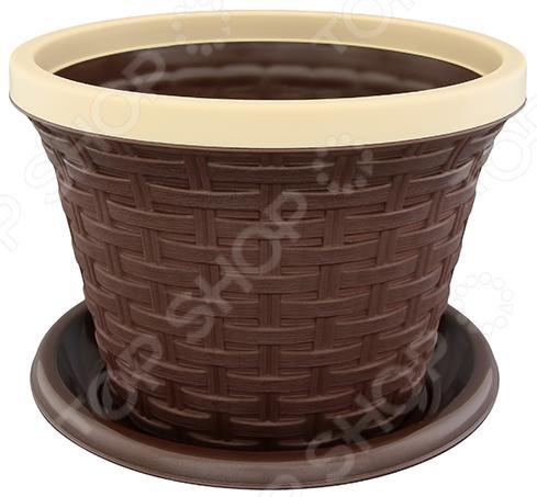 Кашпо круглое с поддоном Violet «Ротанг». Цвет: коричневый