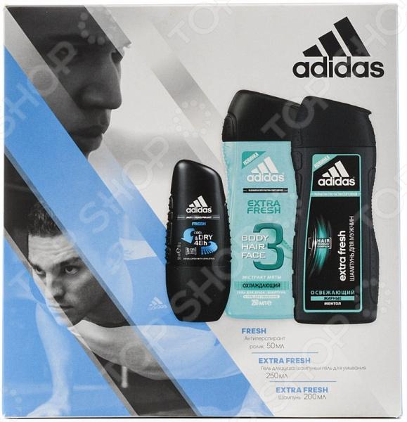 Набор мужской: дезодорантролик, гель для душа и шампунь Adidas Fresh  недорого
