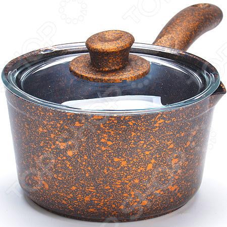 Ковш с крышкой Mayer&Boch с каменным покрытием. Цвет: медный ковш mayer
