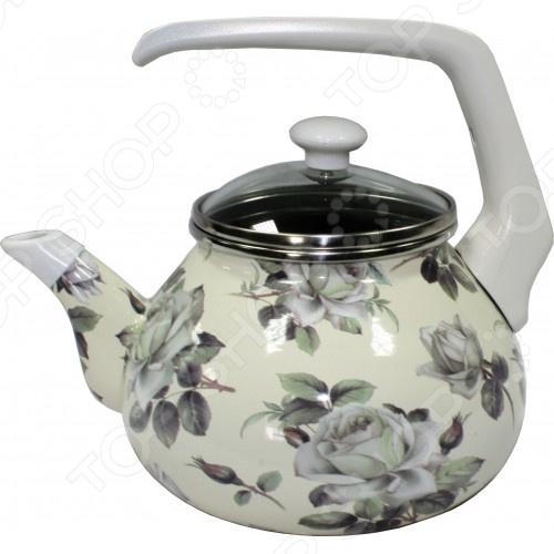 Чайник эмалированный Interos 2362 «Белая роза» кастрюля эмалированная 2 1 л interos белая роза 2 1л 2362