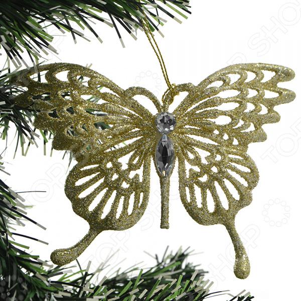 Новогоднее украшение Crystal Deco «Бабочка». В ассортименте Новогоднее украшение Crystal Deco «Бабочка» /Шампань