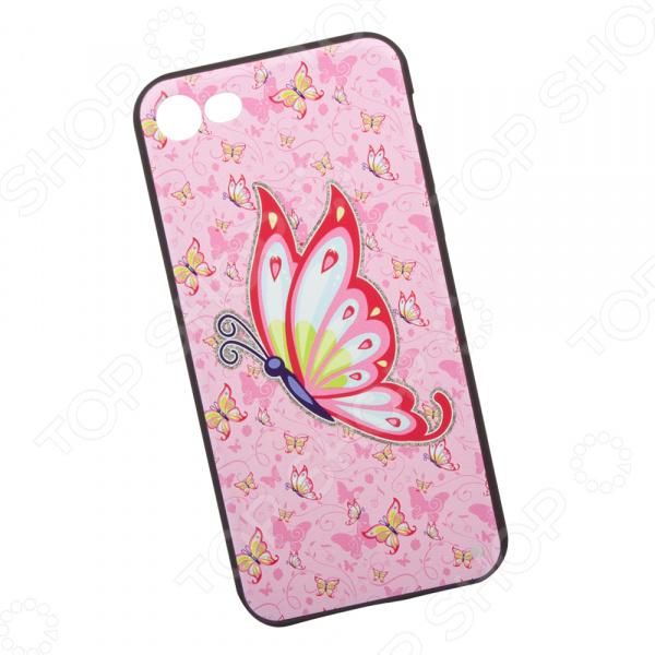 Чехол с защитным стеклом для iPhone 7/8 «Бабочка на розовом»
