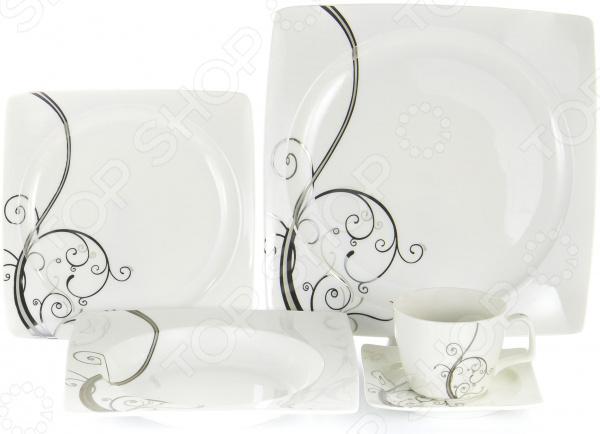 Набор столовой посуды OlAff «Белый квадрат. Узоры». Количество предметов: 30 фруктовница olaff кетцаль узоры 2 яруса kr scp011 012 1056b