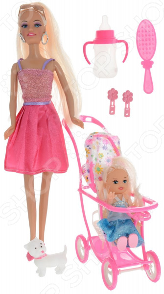 Кукла с аксессуарами Toys Lab «Блондинка в розовом платье на прогулке с семьей» toys lab летний домик toys lab тойз лаб