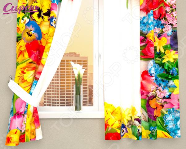 Фотошторы Сирень «Яркие бутоны цветов»