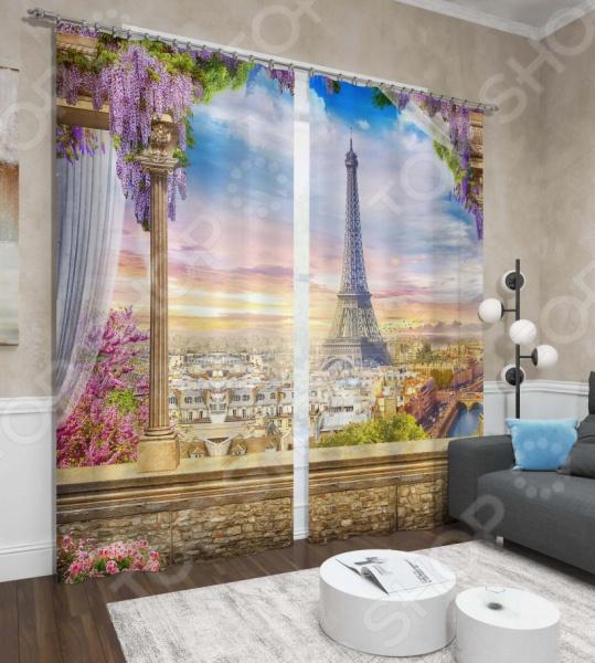 фото Фотошторы Сирень «Романтика Эйфелевой башни», Фотошторы с городскими пейзажами