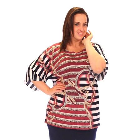 Купить Блуза Wisell «Время любить». Цвет: бордовый, белый