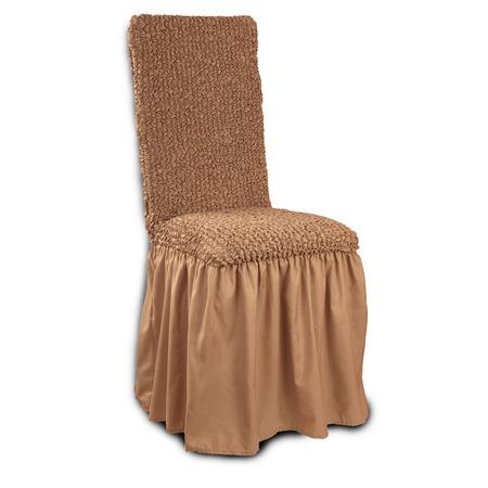 Купить Натяжной чехол на стул с юбкой Еврочехол «Микрофибра. Кофейный»