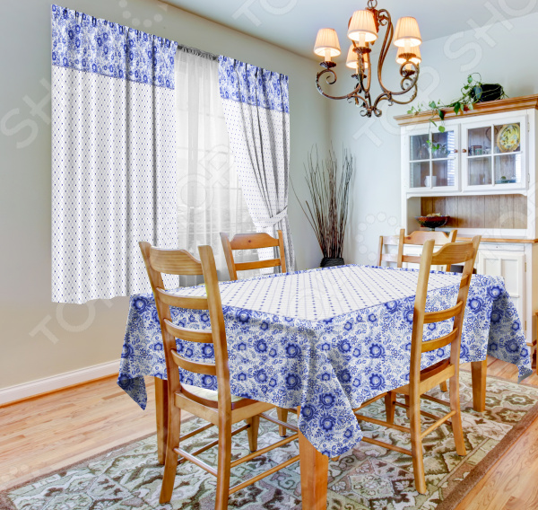 фото Набор для кухни: шторы, тюль и скатерть «Фарфор», Фотошторы с цветами/пейзажами