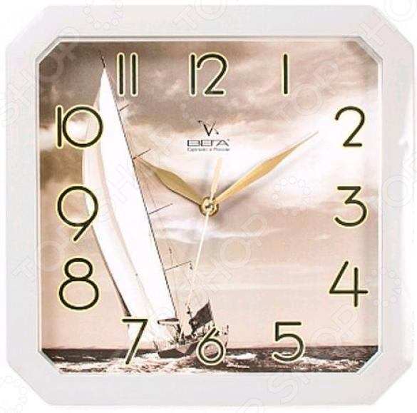 Часы настенные Вега П 4-5/7-7 «Парусник» часы настенные вега д 1 мд 7 8 парусник