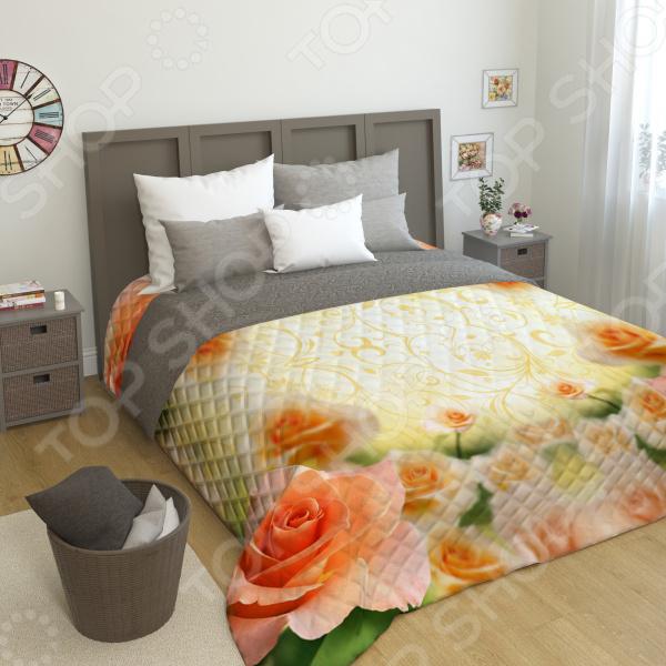 Фотопокрывало стеганое Сирень «Оранжевая роза»