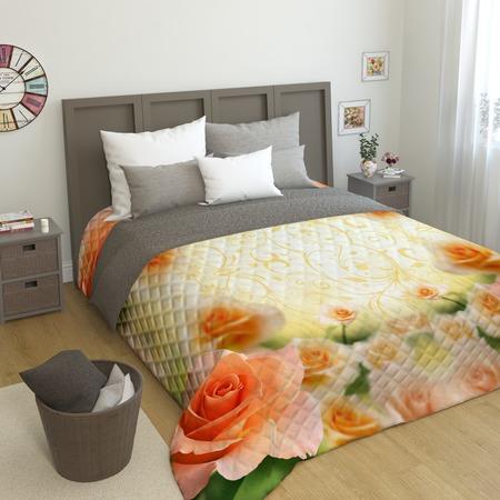 Купить Фотопокрывало стеганое Сирень «Оранжевая роза»