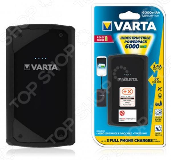 Аккумулятор внешний VARTA Indestructable PowerPack 6000 пусковое устройство и источник питания ring automotive repp148 9ah powerpack фонарь usb