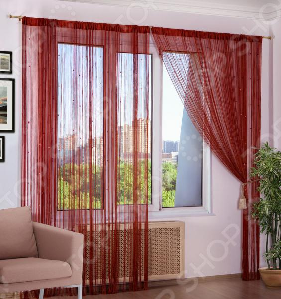Шторы нитяные Алтекс «Радуга стеклярус». Цвет: красный, оранжевый, бордовый шторы томдом классические шторы керид цвет бирюзовый