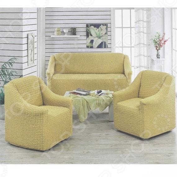 Натяжной чехол на двухместный диван и чехлы на 2 кресла Karbeltex «Комфорт» чехлы на диван зеленый икеа