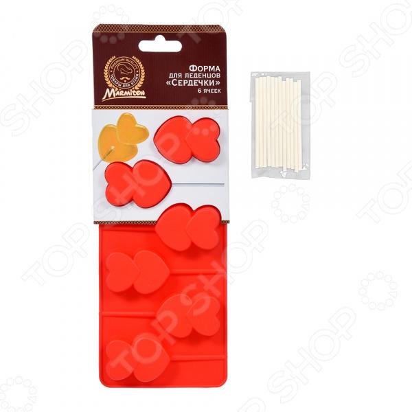 Форма для леденцов Marmiton «Сердечки» 16195 кисточка из силикона с дозатором marmiton 12113