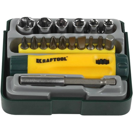 Купить Отвертка реверсивная с битами, адаптером и торцевыми головками Kraftool Expert 26143-H18