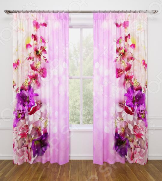 Фотошторы Стильный дом «Волшебные цветы» шторы море солнце и цветы стильный дом