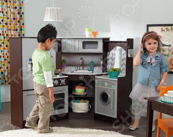 Кухня детская KidKraft «Эспрессо-Интерактив» деревянная игровая кухня для девочек kidkraft большой интерактив белая 53369 ke