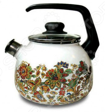 Чайник эмалированный со свистком Vitross Imperio. Цвет: белый набор кастрюль vitross imperio с крышками цвет белоснежный салатовый 3 шт