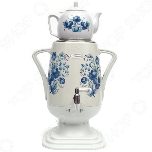 Самовар электрический Добрыня «Губернатор»  Сверху самовара установлен керамический заварочный чайник л...