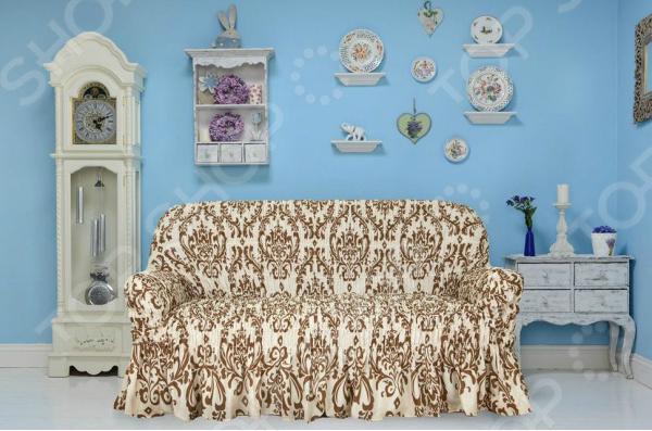 Натяжной чехол на трехместный диван Еврочехол «Фантазия. Венеция» 1