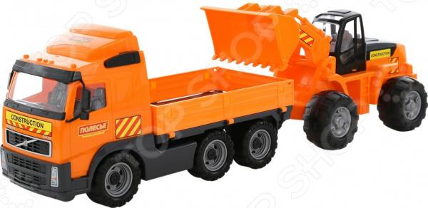 Набор машинок игрушечных POLESIE Volvo с трактором-погрузчиком автомобиль трейлер полесье mammoet volvo с трактором погрузчиком в коробке 56825