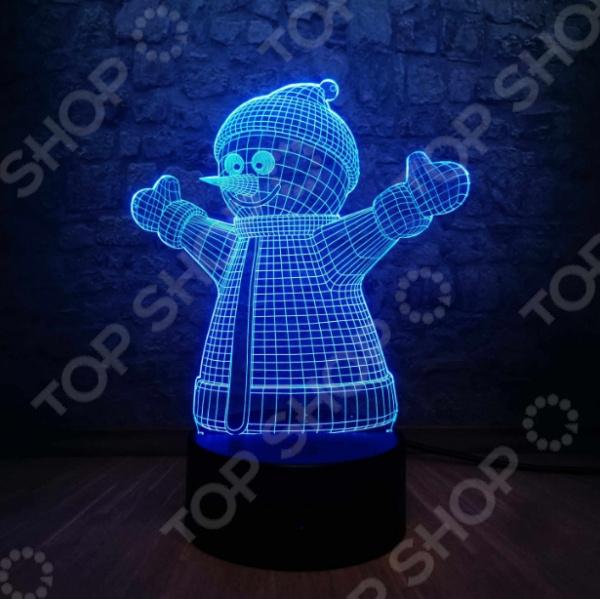 Светильник 3D «Снеговик»