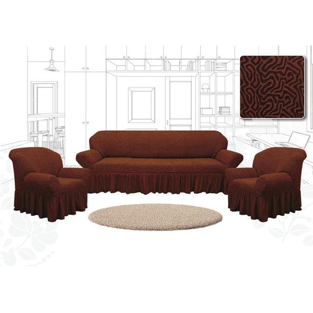 фото Натяжной чехол на трехместный диван и чехлы на 2 кресла Karbeltex «Престиж. Зигзаг» Euro. Цвет: коричневый