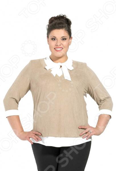 Блузка Серебряная нить Лтд Софинда незаменимая вещь в гардеробе модницы. Подойдет для женщин практически любой комплекции, ведь особенности кроя и оригинальный узор помогают скрыть недостатки и подчеркнуть достоинства фигуры. Эта блуза отлично подойдет для повседневного использования.  Особый шарм модели придает изящный бант.  Удобные рукава 3 4 подходят для женщин с любой полнотой рук. Выполнена из мягкой замши в сочетании с нежным крепом 70 вискоза, 30 полиамид . Материал довольно прочный, выдерживает многократные стирки, при этом не линяет и не мнется. Эта вещь будет радовать вас своим видом долгое время.