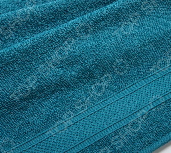 Полотенце махровое Uztex с бордюром. Цвет: морской волны