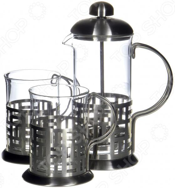 Френч-пресс с набором чашек Guterwahl YM-S2-014/350 набор кофейный guterwahl 3 предмета ym s2 014 600