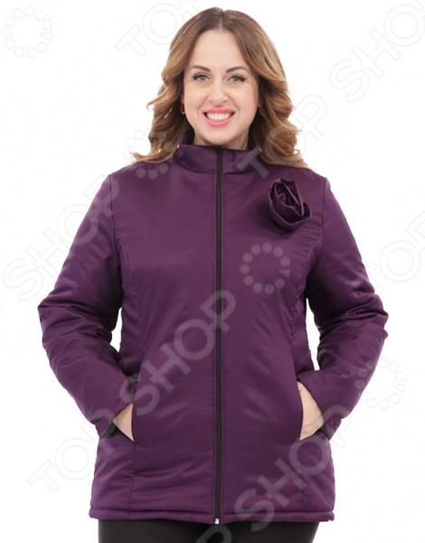 Куртка СВМ-ПРИНТ «Тонкий вкус с воротником». Цвет: фиолетовый свм принт марьяна цвет оливковый