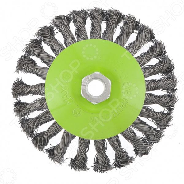 Щетка для УШМ СИБРТЕХ М14, «Тарелка», крученая металлическая проволока