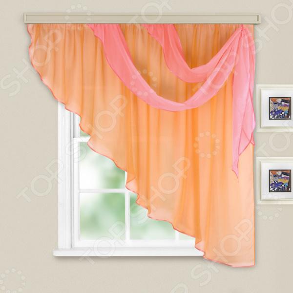 Комплект легких штор правосторонний WITERRA «Азалия». Цвет: персиковый